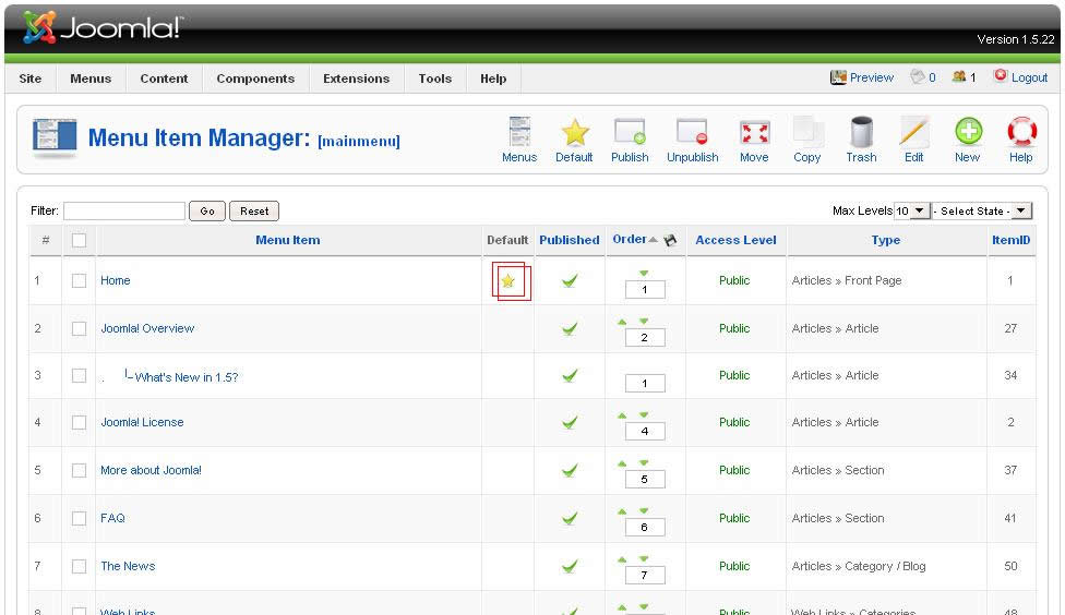 A screenshot showing the important parts of the Menu Item Manager in the Joomla Admin